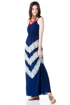 Maggie's Cove Embellished Maxi Dress by Francesca's Navy blue with white lace chevron accents
