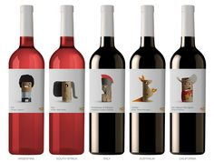 Labels of Belgian supermarket Delhaize's in-house wine brand (2012 range), designed by Spanish agency Lavernia & Cienfuegos
