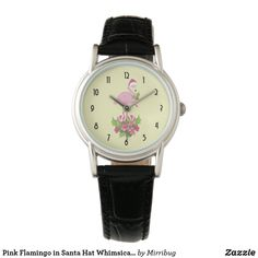 Pink Flamingo in Santa Hat Whimsical Christmas Watch Pug Puppies, Pugs, Pug Dogs, Puppy Cupcakes, Pink Flamingos Birds, Fancy Watches, Whimsical Christmas, Gifts For Pet Lovers, Classic Leather