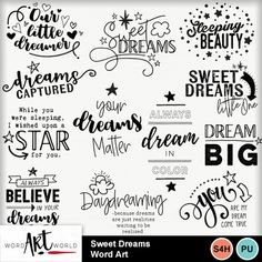 Sweet Dreams Word Art Pack created by Word Art World Dream Word, Bullet Journal Ideas Pages, Bullet Journals, Card Sentiments, Lettering Tutorial, Scrapbook Stickers, Love Words, Coloring Pages For Kids, Journal Inspiration