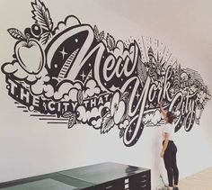 Just finished a couple of days of painting a mural in the New York office of my lovely US agents Tomorrow, I fly to Sweden to paint at No Limit Art Festival ✈️✈️✈️ Mural Art, Wall Murals, Lettering Design, Hand Lettering, Comic Kunst, Office Mural, Hand Drawn Type, Typography Inspiration, Chalk Art