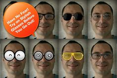 fun from iGlasses. This one allows you to try on funky eyewear and share. Optical Shop, Iphone App, Try On, Appointments, Eyeglasses, Eyewear, Round Sunglasses, Apps, Technology