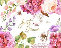 Dulces sueños: 5 Ramos de flores de acuarela, invitación de la boda, flores, amapola, Hortensia, rosas, tarjeta de felicitación prediseñada diy, flores de color púrpura