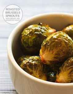 Roasted Brussels Sprouts with Orange and Ginger Soy Sauce // wishfulchef.com
