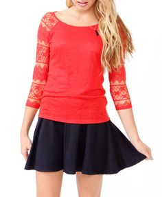 Lace Sleeve Linen Top   FOREVER21 - So cuuute!