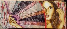 Mujer con abanico . 170 x 75 cms. Tecnica mixta