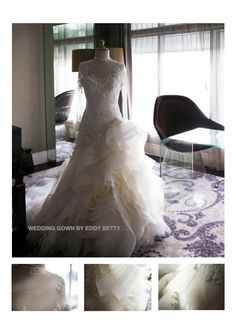 Selling used wedding gown. The dress is design by well-known and respected Indonesian designer, Mr. Eddy Betty.The material is all coming from France. It is polkadot tulle material that is rarely found.  The dress can be worn in 3 styles: strapless, long sleeve (like kate middleton's dress) and short sleeve for more relaxed occasion.  The package includes dress, beautiful long veil, 2 bolero (long and short sleeve) sequined by original Swarovski crystals. siscatjong@gmail.com