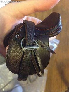 English saddle and laced reins by Jennifer Buxton - model horse tack