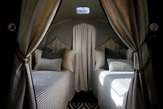 Moroccan-esque airstream bedroom, rolling in style!