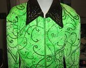Horse show clothes, Girls Youth lime green westerrn zip show shirt horsemanship pleasure, rail,  trial, leadline  L