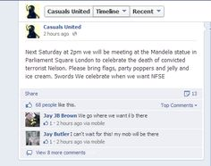 So. that will be two of @casualsunitednt lurking around the statue, and six of them to big it up on the internet... #EDL