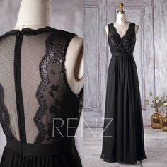 2016 Black Chiffon Bridesmaid Dress V Neck Lace von RenzRags