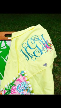 Monogrammed Fishing Shirt WIth Lilly Pulitzer Sun Applique by TantrumEmbroidery on Etsy