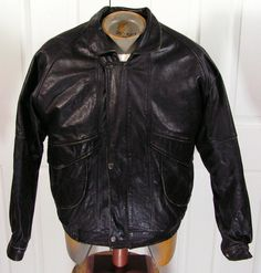 vintage leather bomber jacket coat mens 42 large by moivintage, $69.99