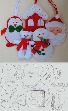 100 Enfeites De Natal Em Feltro Com Moldes Felt Christmas
