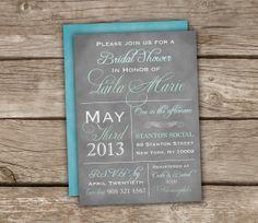 Vintage Style Typography Bridal Shower Invitations - Grey, Blue, Mint, Baby Shower, DIY Printable