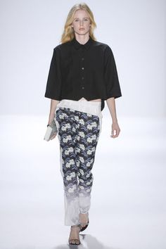 Black and white print and oversized shirt at Rebecca Minkoff #NYFW 2013 #summer #fashion