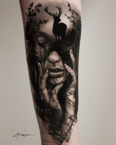 Amazing girl face and deer black and gray tattoo design on the forearm.