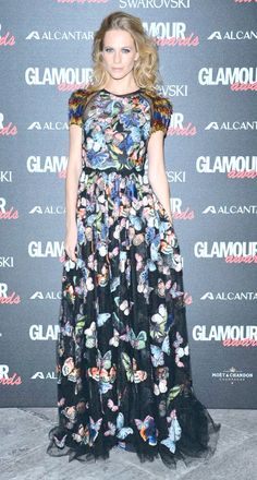 Poppy Delevingne in a butterfly embroidered dress by Valentino