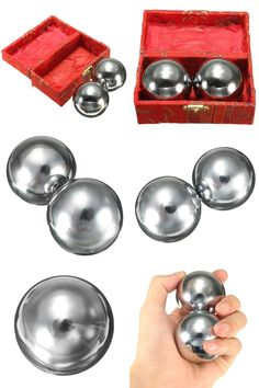 [Visit to Buy] Practical 2Pcs Metal Exercise Hand Wrist Solid Chrome Baoding Balls Chinese Health Exercise Therapy Stress Massager Balls #Advertisement