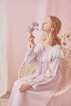 Ever Young Cotton Lace Vintage Long Sleeve Night Gown Fall Mori Girl Fashion, Lolita Fashion, Womens Denim Dress, Fairytale Fashion, Pajama Outfits, Girls With Flowers, Sleep Dress, Fairy Dress, Pretty Lingerie