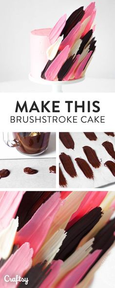 We've been spotting these fun, quirky brushstroke cake designs around for a short while — and how awesome are they! If you want to learn to recreate the latest cake craze, read on to learn how to make your own brushstroke cake — it's way easier than you Food Cakes, Cupcake Cakes, Cake Fondant, Cake Decorating Techniques, Cake Decorating Tutorials, Decorating Cakes, Cake Decorations, Chocolate Decorations For Cake, Cupcakes Decoration Awesome