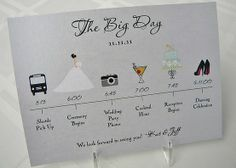 really clever wedding day itinerary for wedding party