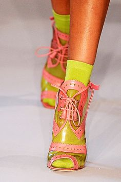 Oscar de la Renta PVC clear oxford pump with neon socks