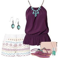 - turquoise & purple -Not a fan of the shorts.