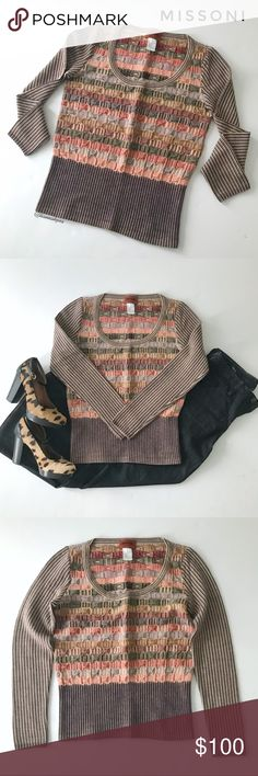 """⭐️ Missoni sweater, size 40 (~S) Multi-colored and patterned sweater from Missoni.  Scoop neck, different textures and shapes in shades of reds, oranges, purples. creams, and browns.  Tailored fit, fashion forward style.  🍈 Size 40 IT (similar to small) - bust 34"""", waist 29"""", length 22.5"""" 🍈 Condition: good - light wear and pilling 🍈 Material: 90% merino wool, 10% nylon Missoni Sweaters Crew & Scoop Necks"""