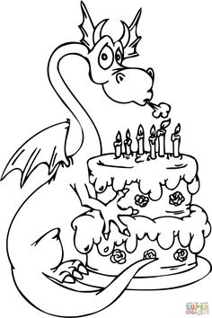 Dragon With Happy Birthday Cake Coloring Page From Category Select 30087 Printable Crafts Of Cartoons Nature Animals Bible And Many More