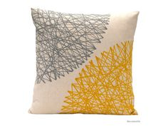 Pillow Cover  Yellow and Grey  -  geometric print pillow by Beccatextile on Etsy, $41.04