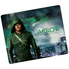 "The Arrow mouse pad features Oliver Queen in his iconic green hood ready to defend Starling City! This plastic surface pad measures approximately 7.75"" x 9.25"", offers precise tracking, and wipes clea"