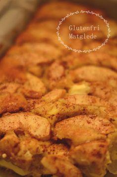 Glutenfri matglede: Fantastisk god eplekake med vaniljekrem! Gluten, Chicken, Meat, Baking, Recipes, Food, Cakes, Bakken, Eten