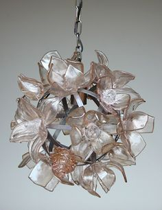 "Small Bronze Chandelier  Twenty hand-sculpted glass flowers on a steel armature  14"" round by Elizabeth Lyons"