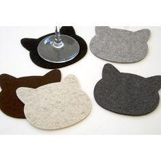 Cat Head Drink Coasters in 3MM Thick Virgin Merino Wool Felt Fabric