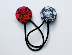 Skull Hair Tie Set   Blue in Navy and Pale  Covered by DustyJo, $9.00