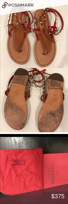 Valentino Rockstud Ankle Wrap Sandals Valentino Rockstud Ankle Wrap Thong Sandals in Tan with red interior. GORGEOUS SANDAL great buy. Worn 2-3 times pretty good condition! Dust bag and original box included Valentino Shoes Sandals