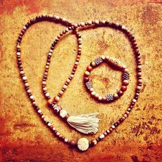 """22 Likes, 6 Comments - Toi Lynn Wyle (@theblissgoddess) on Instagram: """"""""Love This Life"""" traditional style 108 w/ tassel mala and companion bracelet.  Petrified wood and…"""""""