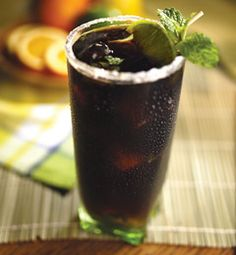 Mojo. Ingredients: Lime wedges, 2 teaspoons (6 g) sugar, 8–10 mint leaves, 2 tablespoons (30 ml) lime juice, 8 ice cubes, 1 1/2 ounces white rum, 2 ounces (60 ml) cold espresso or strong coffee, Club soda. Directions: 1. Moisten the rim of a chilled tall clear glass with a wedge of lime and dip the wet rim into a small flat dish of sugar. Rotate gently to evenly coat the glass rim. 2. Place the fresh mint leaves and lime juice in the sugar left on the dish. Lightly crush the min...