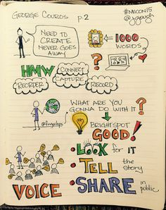 Sharing p. 2 of from beautiful keynote. HMW further take up the challenge? (with color) Visual Note Taking, Sketch Notes, Keynote, School Stuff, Doodles, Challenges, Journey, Learning, Words