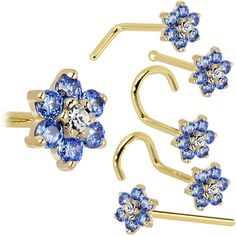 Solid 14KT Yellow Gold Arctic Blue and Clear Cubic Zirconia Flower Nose Ring