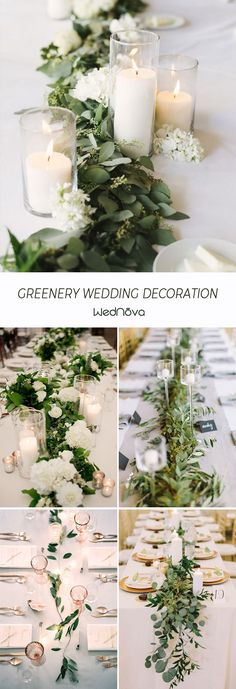 Greenery wedding decor - Greenery Wedding Ideas to Inspire Your Big Day – Greenery wedding decor Eucalyptus Centerpiece, Greenery Centerpiece, Wedding Table Centerpieces, Centerpiece Ideas, Greenery Decor, Candle Centerpieces, Diy Wedding Tables, Vintage Centerpiece Wedding, Diy Wedding Table Decorations