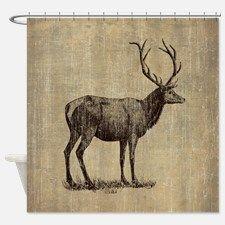 Vintage Antler Shower Curtain for