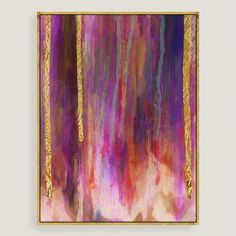 Abstract, lush colors stream down beneath gold leaf in this glam piece. Cutting edge giclée technology allows this reproduction the feel of an original work of art, as if made just for you.