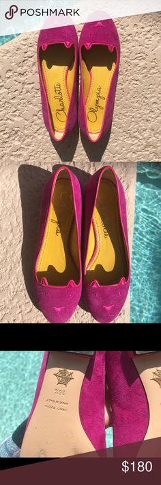 Charlotte Olympia Velvet Kitty Flats Charlotte Olympia Velvet Kitty Flats  Hand crafted velvet flats in magenta pink. Cat features embroidered in gold-tone at round toe. Metallic calfskin piping in gold-tone at collar. Gently worn, slight scuffs on leather sole.  $180 Size 6.5  Made in Italy Charlotte Olympia Shoes Flats & Loafers