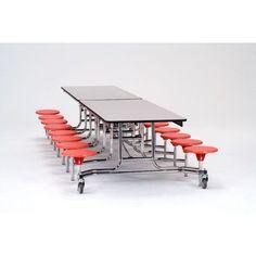 "National Public Seating 145"" x 59"" Rectangular Cafeteria Table Seat Color: Black, Frame Finish: Chrome, Tabletop Color: Banister Oak"