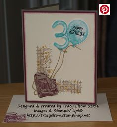 Masculine birthday card using the Balloon Builders, Traveler and Timeless Textures Stamp Sets from Stampin' Up!  http://tracyelsom.stampinup.net
