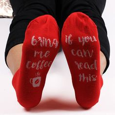 Kintted Funny Letters Cup Embellished Ankle Socks - RED