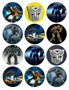 TRANSFORMERS Printable Birthday Party Cupcake by GELATODESIGN. $5.00, via Etsy.